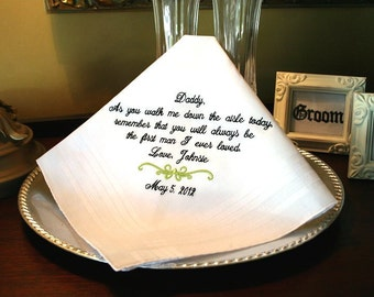 Father of The Bride Gift - Handkerchief  -Hankie - Hanky - As you walk me down the aisle today - Gift for Father of the Bride - Wedding