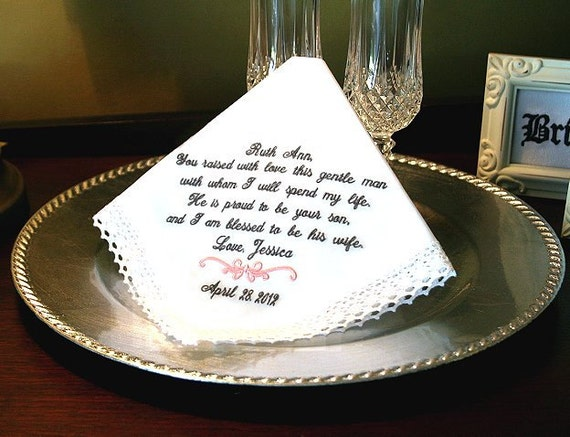 Mother of The Groom Hankie Wedding Gift- Gift for the Bride to Give - You raised with Love this Gentle Man - Mother in Law - Hanky - Hankie