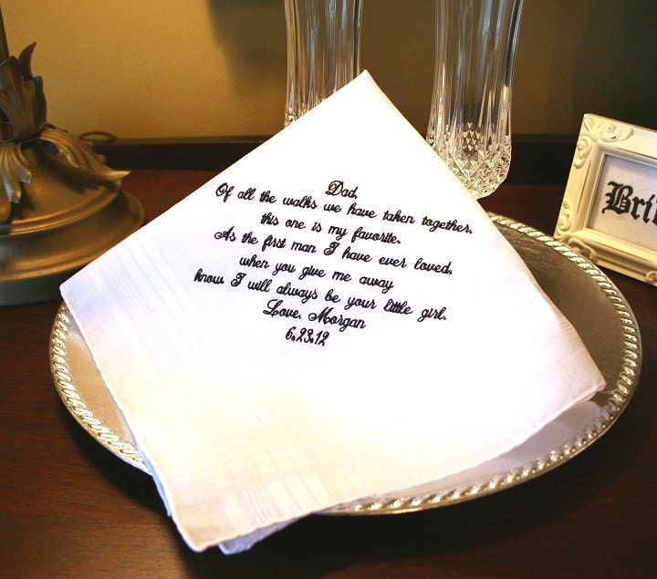 Gift For Dad On Wedding Day Handkerchief : Father of The Bride Handkerchief Hankie Hanky FAVORITE