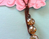 necklace- antique copper and champagne, chain and glass beads, charm necklace