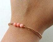 coral copper bracelet, delicate glass beads and copper chain