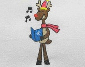 REINDEER Singing Christmas Carols Embroidered Quilt Block by Amy