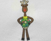 REINDEER with Christmas Wreath Embroidered Quilt Block by Amy