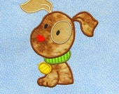 DOG Applique and Embroidered Quilt Block by Amy