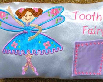 TOOTH FAIRY PILLOW embroidered and appliqued by Amy
