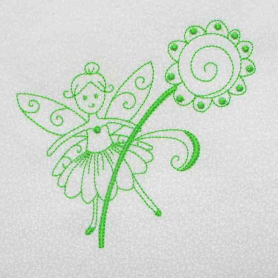 FAIRY Green Work  Embroidered Quilt Block by Amy