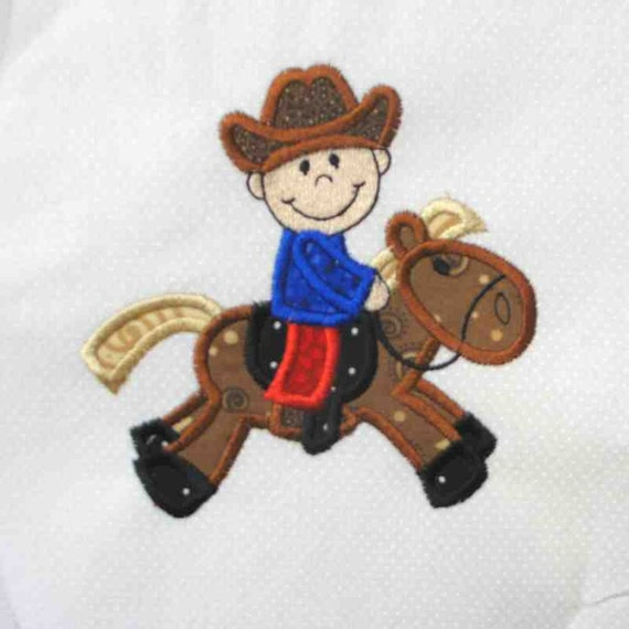COWBOY Riding a Horse Applique and Embroidered Quilt Block by Amy
