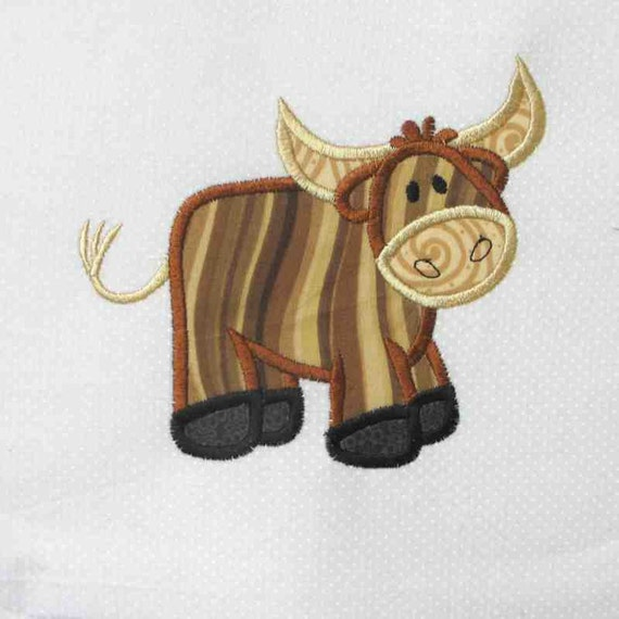 COWBOY  Bull Applique and Embroidered Quilt Block by Amy