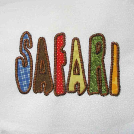 SAFARI Title Applique and Embroidered Quilt Block by Amy