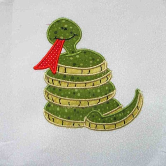 SAFARI Snake Applique and Embroidered Quilt Block by Amy
