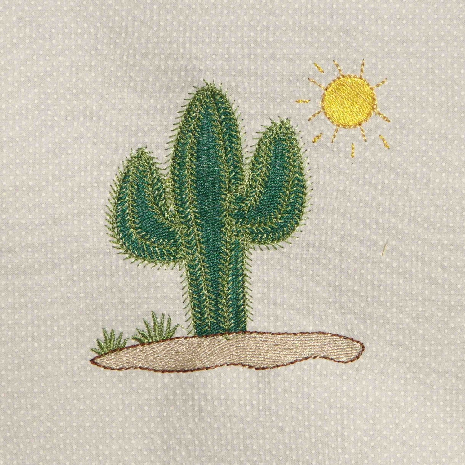 Cactus embroidered quilt block by amy amyglitterbug on etsy
