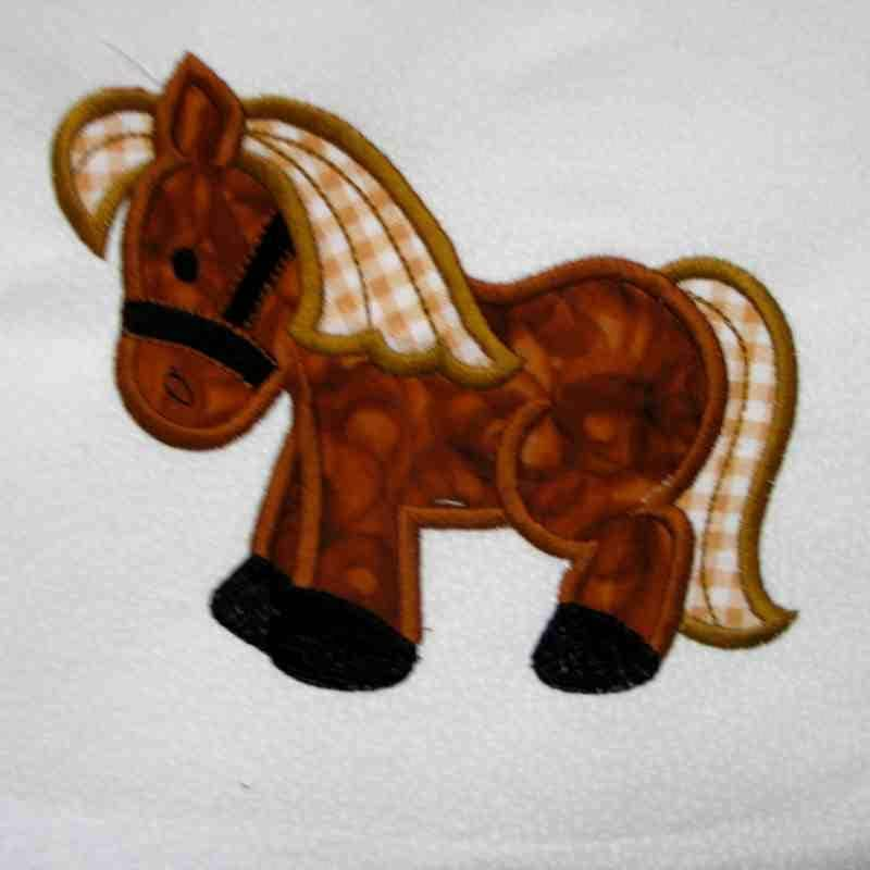 HORSE Farm Applique And Embroidered Quilt Block By