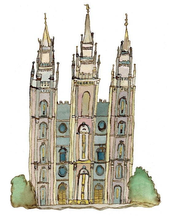 LDS Mormon Temple, Salt Lake City, Utah, 5x7
