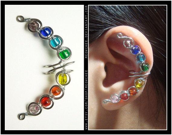 Rainbow Crescent ear cuff