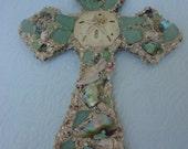 Abalone and Sea Green Beach Glass Cross