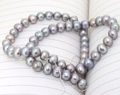One Full Strand--- Pure Grey Freshwater Pearl----7.5mm----about 34 Pieces----8.5 inch One strand
