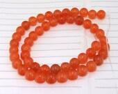 "strand Round Orange Jade Beads----8mm ---- gemstone beads--- 15.5"" in length"