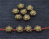 40 pcs of charm rose flower antique bronze plated Balls beads metal findings Beads -----6mmx7mm ----- 40Pieces 2AB