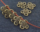 20Beads Flower bronze Plated Victorian Connector Link Beads ----- 13mm ----- 20 Pieces 2AB