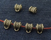 25 pcs of charm Barrel Pendant head antique bronze plated  beads metal findings Beads ----7mmx8mm ----- 25Pieces 2AB