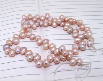 One Full Strand--- Natural Dancing Pure Freshwater Pearl----6-7mm----over 75 Pieces----14.5 inch strand