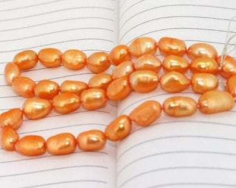 One Full Strand--- Orange Rice Pure Freshwater Pearl----8-12mm----35Pieces----15.5 inch strand