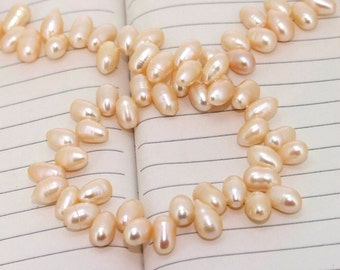 One Full Strand--- Dancing Luster Pink Pure Freshwater Pearl----7-10mm----about 75Pieces----15 inch strand