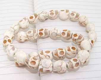 One Full Strand--- Skull Magnesite White Beads----10-12mm----about 32 Pieces----15.5inch strand