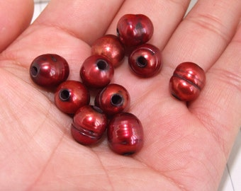 Rare Hole 3mm Red Freshwater Cultured Pearl  Gemstone Beads ----10-11mm ----about 8 Pieces