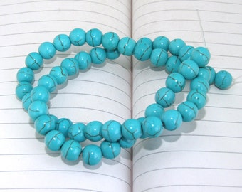 One Full Strand--- Round Turquoise Beads-----8mm----about 55 Pieces----16inch strand