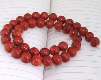 "strand Round Red Spong Coral Beads----14mm ------- gemstone beads--- 15"" in length"
