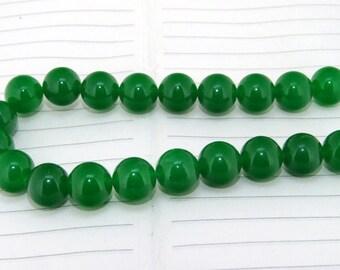 strand  Round Green Jade  Smooth Round Beads ----- 12mm ----- about 20Pieces ----- gemstone beads