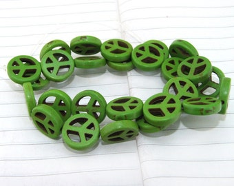 One Full Strand---Peace  Green Turquoise Beads----3-15mm ----about 26Pieces----15.5inch strand