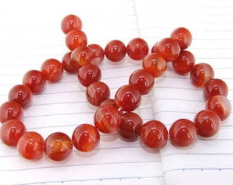 One Full Strand--- Round Candy Red Agate Gemstone Beads----12mm ----about 32Pieces----15inch strand