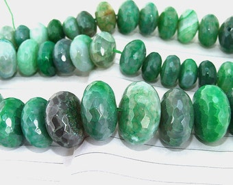 "One Full Strand---- Faceted Rondelle Green Agate Beads ----- 12mm-20mm ----- about 42Pieces ----- gemstone beads--- 15.5"" in length"