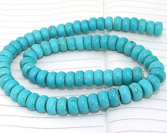 One Full Strand--- HeiShi Turquoise Gemstone Beads ----5mmx10mm---- 70Pieces----16 inch strand