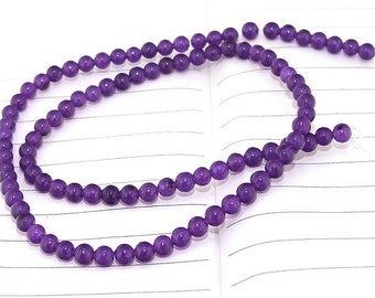"""strand Round Amethyst Jade Beads ----- 4mm ----- about 90Pieces ----- gemstone beads--- 15"""" in length"""