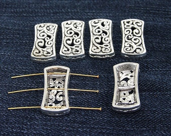 10Beads Antique Silver Victorian Connector Link Beads ----- 12mmx26mm ----- 10Pieces 2AD