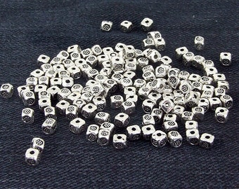 60 Beads squareness Antique Silver Victorian Connector Link Beads ----- 3mm ----- 60Pieces 2AD