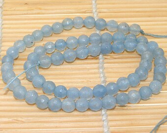 "One Full Strand ---- Faceted  Aquamarine Beads ----- 8mm ----- about 50Pieces ----- gemstone beads--- 15.5"" in length"