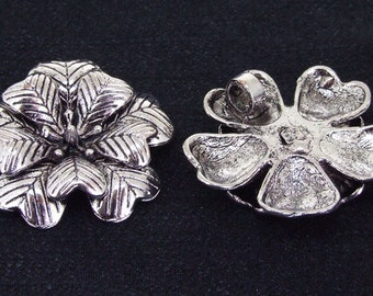 2 Beads Charm Big 2layer flower pendant Beads Antique Silver Victorian Pendant Connector Beads ----- 34mm ----- 2Pieces 2H