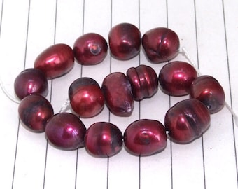 Rice Red Freshwater Pearl Gemstone Beads -----9mmx10mm----about 15Pieces