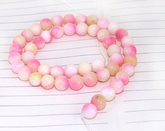 Round Candy Pink Jade Gemstone Beads---- 8mm ----about 48Pieces---- 15.5inch one strand