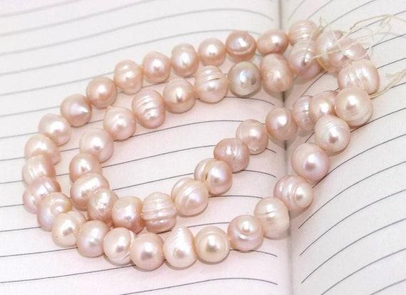 One Full Strand----- Flat Pure Natural Color Freshwater Pearl----8mm----about 45Pieces----14inch strand