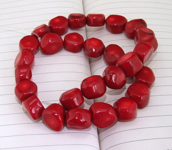 """Egg red Coral Beads----13mm-15mm----about 28 Pieces----gemstone beads---16"""" in length"""
