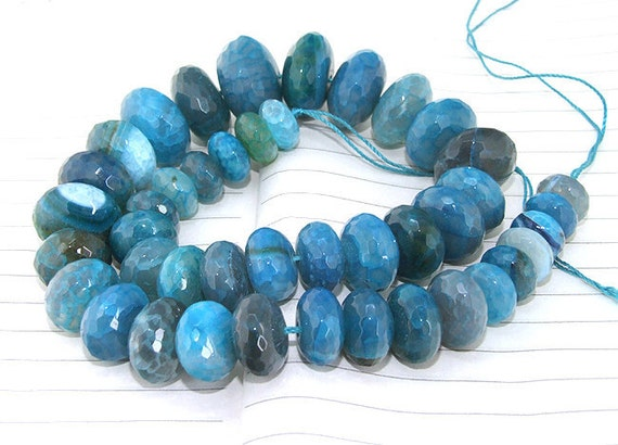 "One Full Strand---- Faceted Rondelle Blue Agate Beads ----- 12mm-20mm ----- about 42Pieces ----- gemstone beads--- 15.5"" in length"