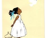 Little girl releasing white dove