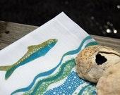 Fish and waves handkerchief, silkscreened and blockprinted