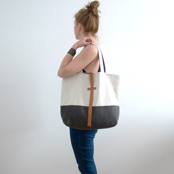 Large tote bag, cotton and wool