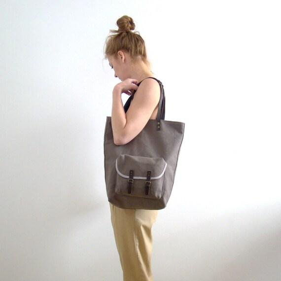 Tote bag, medium, grey canvas cotton